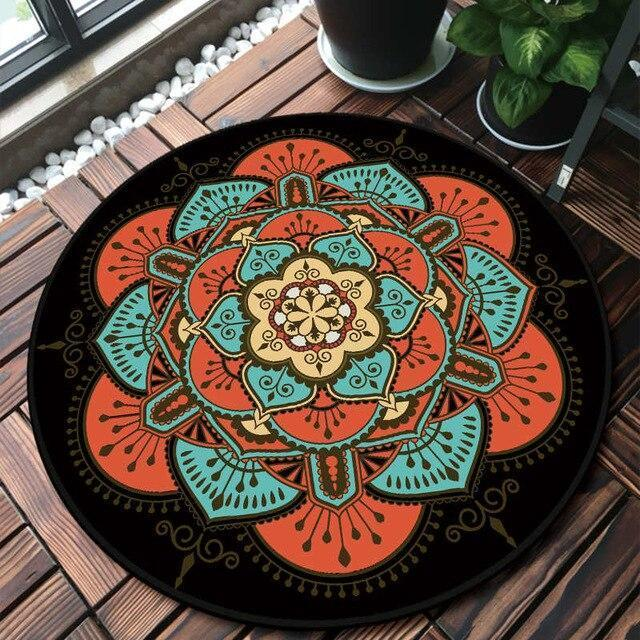Runder Teppich<br> Rot und Schwarz